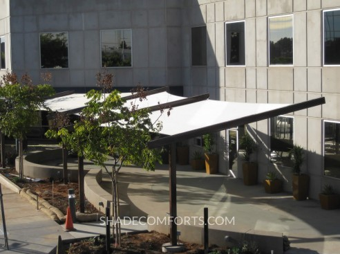 & Tensile Fabric Canopy Shades Corporate Patio