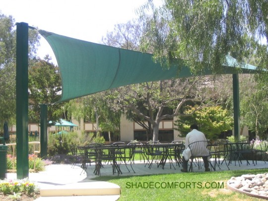 This cantilevered shade sail structure cools employees on outdoor cafe patio at company in San Diego CA. & Employee Shade Shelters - Break Area - Rest Stop Canopy - California