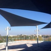 Shade Sails On Roof Patio at UCAL Irvine in Orange County
